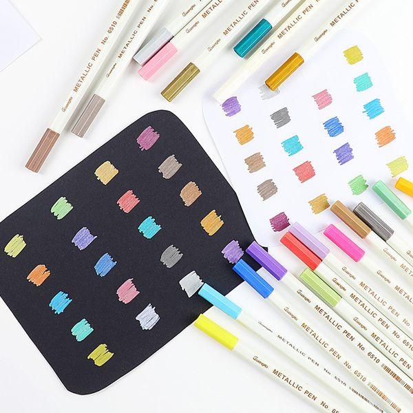 2019 Metallic Micron Pen Detailed Marking Metal Marker For Album Black Paper Drawing School Art Supplies White Paint Pens From Mart07 1 0