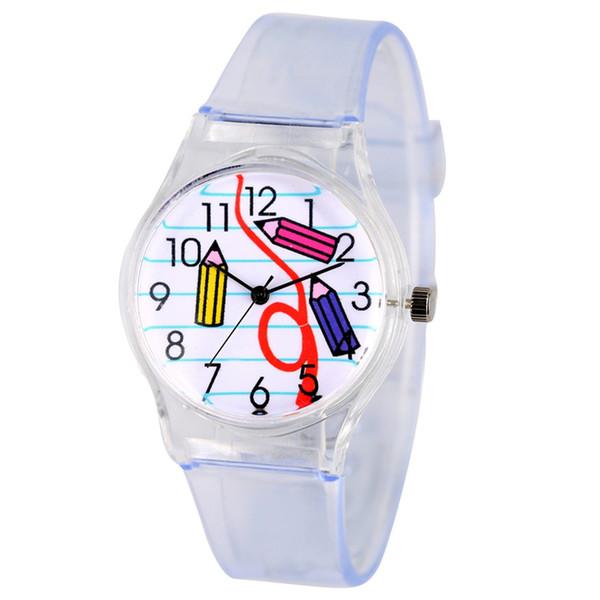 Minimalist Style Quartz Wristwatch Classic White Dial Watch for Kids Soft Transparent Strap Watches for Children