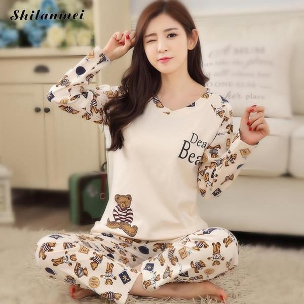 Women Pajamas Set 95% Cotton Autumn Pyjamas Ladies Pijama Cute Sleepwear  Girl Long Sleeved Household Clothing Set 2018 New ffa2c5301