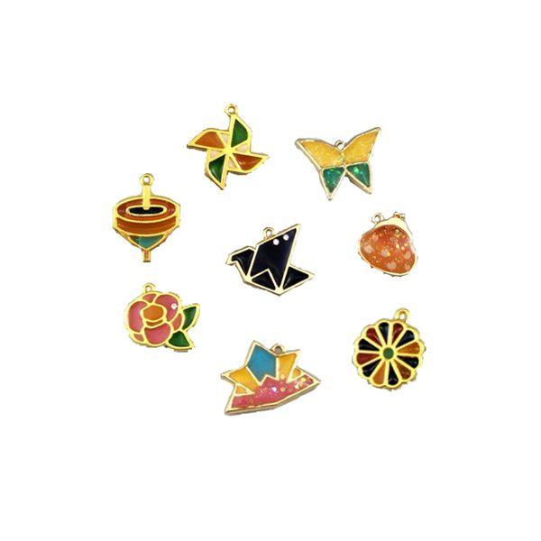 4pcs/lot Butterfly Windmill Metal Frame Pendant Charm Bezel Setting Cabochon Setting UV Resin Charm Necklace Earring Findings