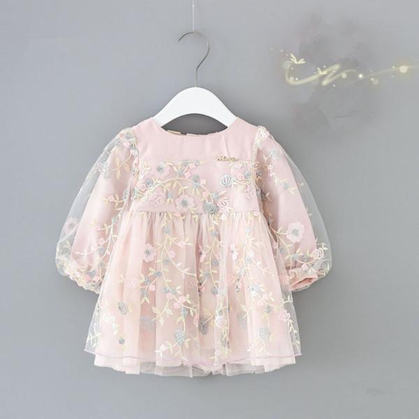 infant girls clothes autumn lantern sleeve baby girls dress kids birthday flowers embroidery party dresses Newborn princess