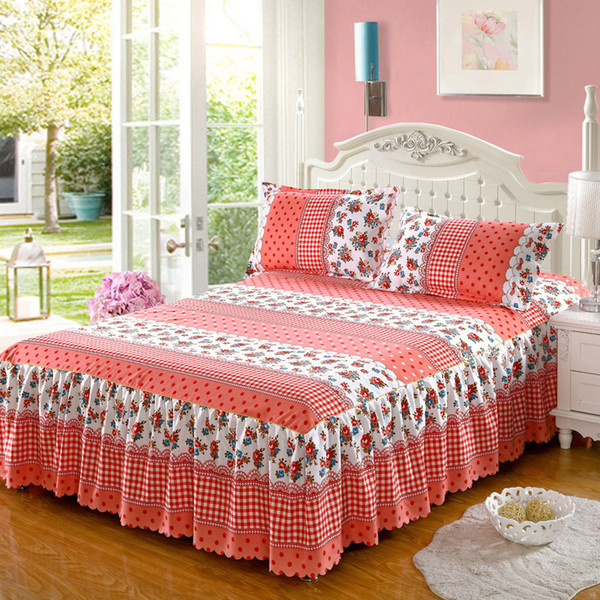 23 colors New lace bedspread fashionable large bed skirt thicker three sets comforter bedding sets 3 pcs 1.2/1.5/1.8/2.0m bed