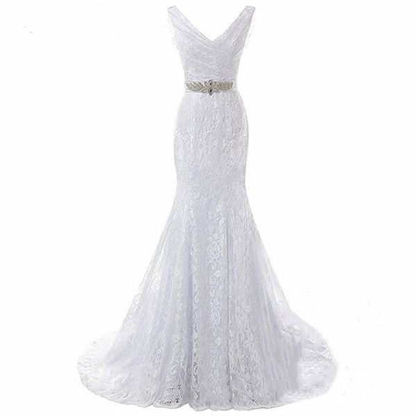 Bridal Wedding Gown Real Photos White Lace Cheap Mermaid Wedding Dress Train 2018 Vintage Sash vestido De noiva 2018