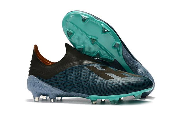 Azul claro Messi Tacos de fútbol 100% originales Laceless X 18+ FG Hombres Zapatos de fútbol Zapatos de fútbol de punta suave