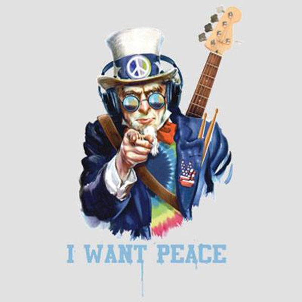 Uncle Sam I Want Peace Music Headphones Guitar Party Funny T-Shirt Tee Trump sweat sporter t-shirt