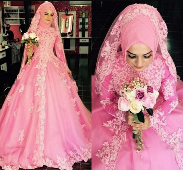 new arrival pink lace ball gown long sleeve prom dress high neckline long sleeve modest prom gowns best selling prom dresses