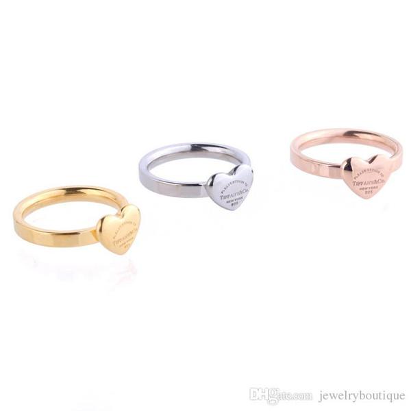 316L любителей титана стали Кольца с сердцем в форме сердца для женщин ювелирные изделия бренда Горячие Продажа PS5507