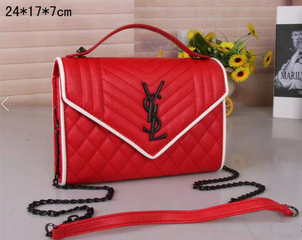 c5de7f0cbdd6 Free shipping HOT New Messenger Bag YSL Simple Shoulder Chain Small Square  Bag Fashion Wild Lingge