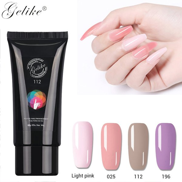 Gelike 60ml Nail Art French DIY Gum Poly Clear Natural Camouflage Hard Crystal Jelly Builder Extend
