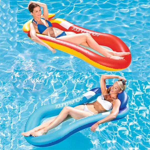 Summer Inflatable Beach Lounger Backrest Water Hammock Single Air Mattresses Recliner Floating Sleeping Bed Chair Cushion VT0050