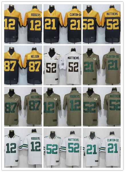 Packer Bandera Green Bay 12 21 Rodgers Clinton-Dix 52 Matthews 87 Nelson EE.UU. Negro Moda jerseys de la élite Nelson Pro Line Jersey05 Moda Verde