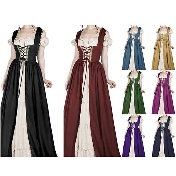 Compre Mujeres Vestido De época Medieval Manga Corta Vestidos Góticos Cosplay De Halloween Retro Vestido Largo Oktoberfest Maid Wench Vestidos A