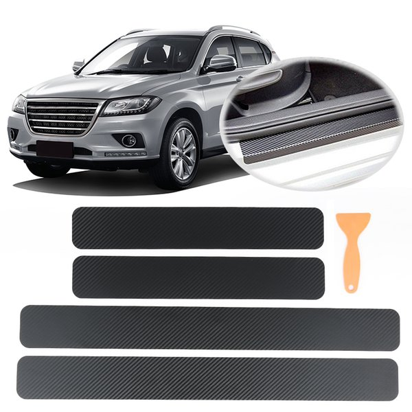 4PCS Car Sticker Door Sill Protector Car Styling Carbon Fiber Door Plate Scuff Protection Auto Accessories Step Scratch