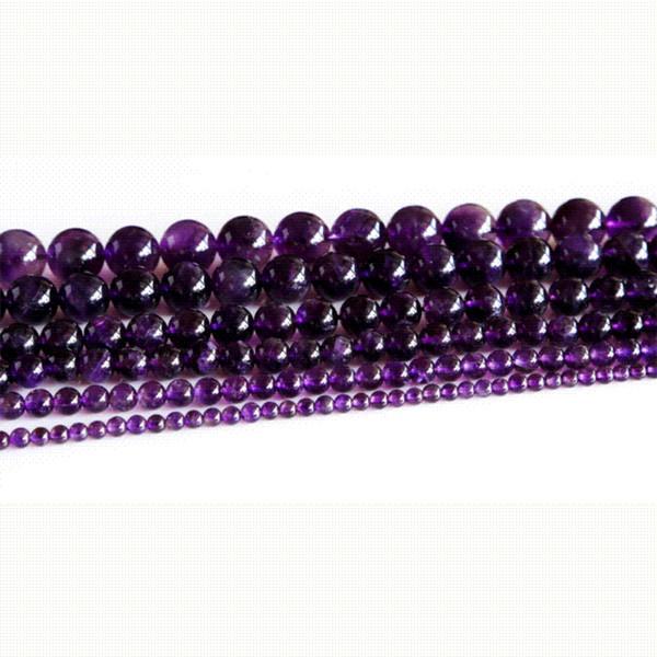 Alta Calidad Grado Natural Amatista Cristal Púrpura Oscuro Redondo Suelta Cuentas de Piedra 3-18mm Joyería Apta 15