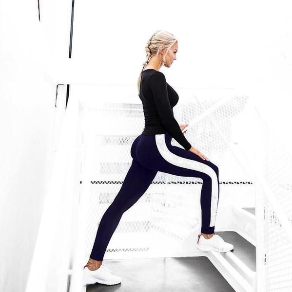 Leggings sexy delle donne striscia bianca Sport Girl Skinny Stretchy Pants Tight Fitting Elastico Slim Fitness Matita Pantaloni signore yoga leggings