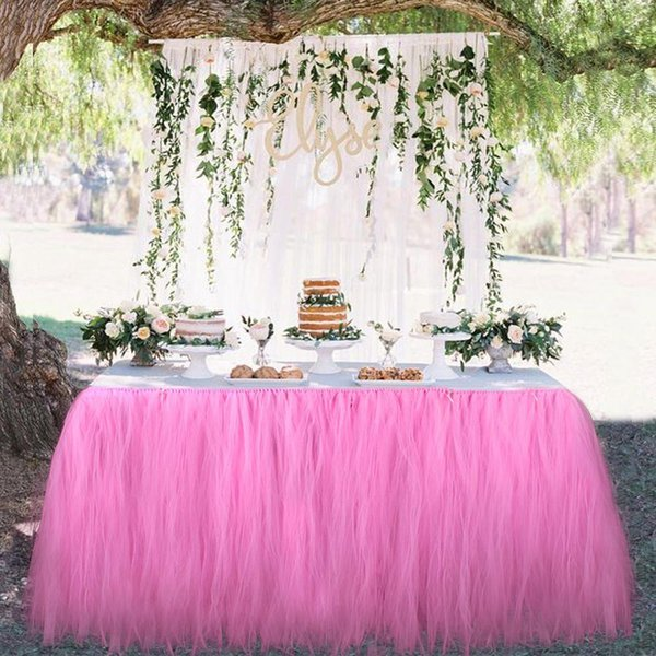 skirt OurWarm Many Tulle Tutu Skirt Tulle Tableware for Wedding Decoration Baby Shower Party Wedding Table Skirting Home Textile