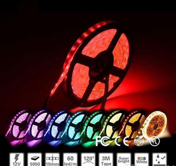 100m lote 3528 5050 SMD RGB 12V Impermeable No impermeable tiras flexibles de luz LED 300 Leds 5 M doble cara buena calidad LLFA