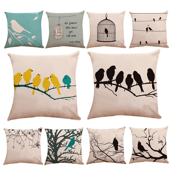 Keten Yastık Kılıfı Şube Küçük Kuş Kafesi Serçe Desen Pillowslip Beyaz Yeşil Mavi Minder Kapak Sıcak Satış 5sy L1