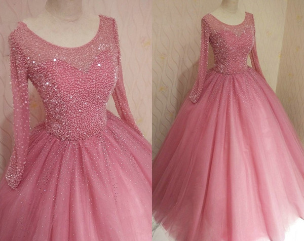 Vintage Dusty Rose Long Sleeve Quinceanera Prom Dresses Ball Gown Vestido De Noiva Beads Sequins Tulle Long Sweet 16 Dress Vestidos 15 Anos