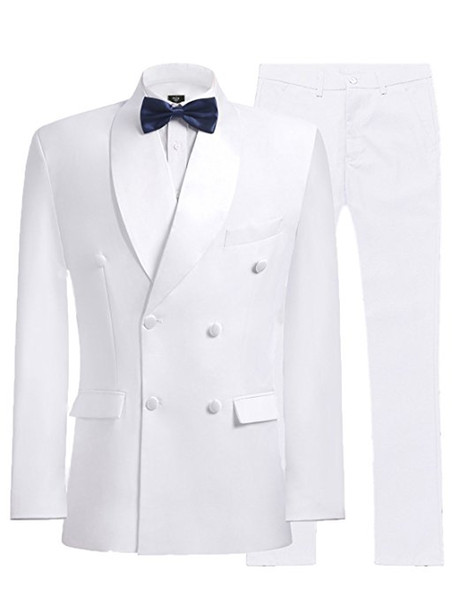 Double-breasted smokings marié blanc Groomsmen Shawl Lapel meilleur homme costume mariage / hommes Costumes Epoux (veste + pantalon + cravate) A952