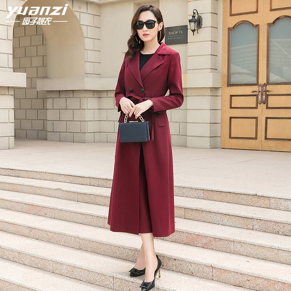 womens trench coats 2019 Spring New Street Wear Trench Coat Female Dark Red Long-style Slim Overcoat
