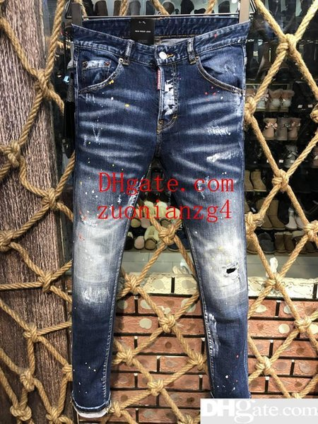 Fashion Designer Mens Ripped Biker Jeans Leather Patchwork Slim Fit Black Moto Denim Joggers For Male Distressed Jeans Pants
