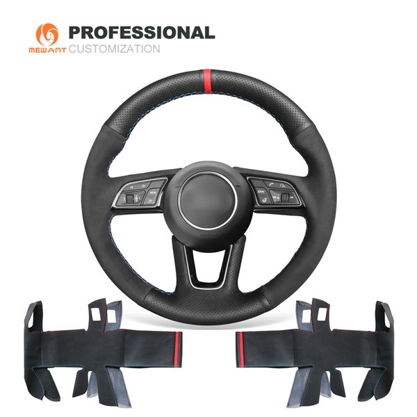 MEWANT Black Suede with Genuine Leather Comfortable Soft Durable Anti-slip Hand Sew Car Steering Wheel Cover for Audi A5 2017