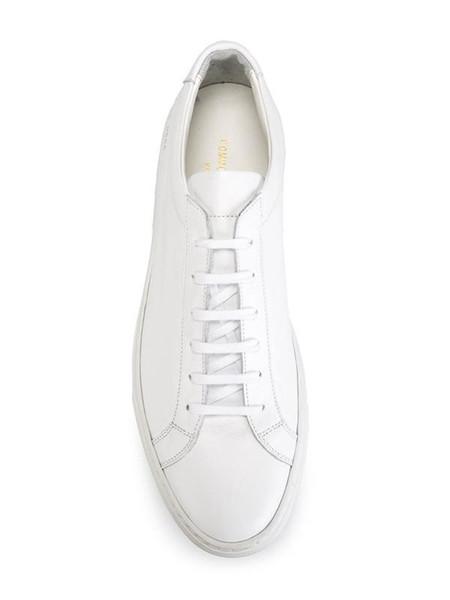 Gemeinsame Projekte von Frauen Schwarz Weiß Low Top Schuhe Herren Damen Echtes Leder Freizeitschuhe Wohnungen Chaussure Femme Hommes