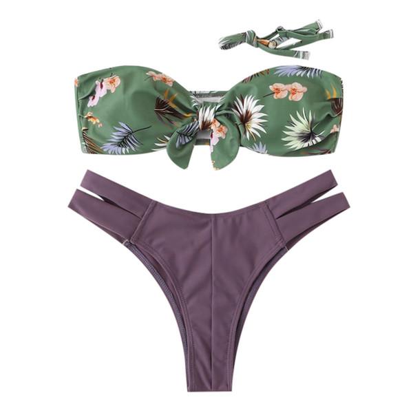 Tube Top Bikini Purple Print Fashion Two Pieces Bikini Push-Up Bathing Swimming Wearing Beach Style Stroje Kapielowe Badeanzug