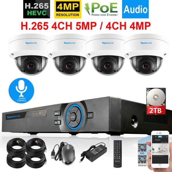 H.265 CCTV System 4CH 5MP POE NVR 4MP IP66 Vandalproof Dome Security Onvif IP Camera Audio Record Sound Video Surveillance kit