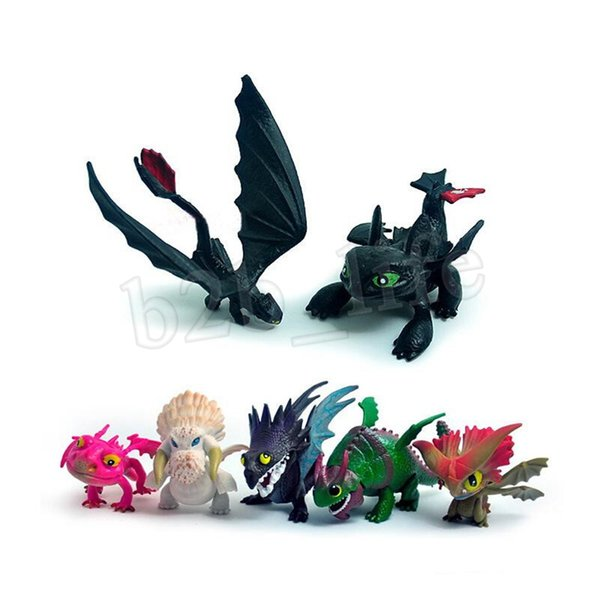 7pcs/set How To Train Your Dragon 3 Figure Toys Toothless Skull Gronckle Deadly Nadder Night Dragon Figures MMA1512 10lot-1