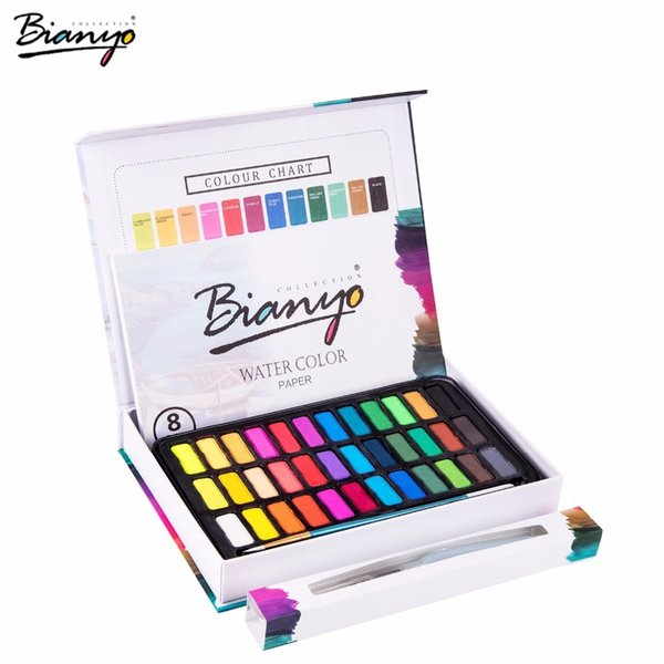 Bianyo 30/36 Colors acrylic paints set Portable Paints for painting Drawing markers Field Sketch Set With Brush Art Supplies C18112001