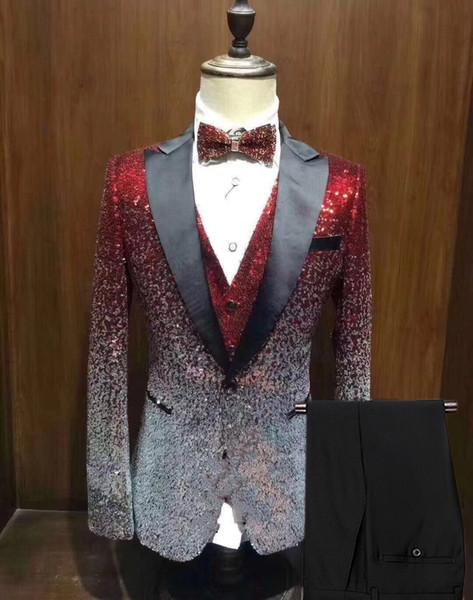 Neue Männer Anzug 3 Stücke Shiny Allmählich Ändernde Farbe Pailletten Herren Anzug Spitzenkerbe Revers Smoking für Hochzeit Bräutigam (Blazer + + Weste + Pants)