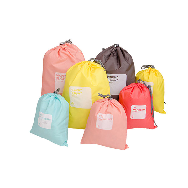 6styles 4pcs/set travel storage waterproof hanging bag underwear clothing shoes beam drawstring bag sundries bag set FFA2429