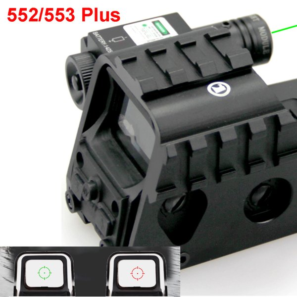 Novo Tactical Red e Green Reflex Holográfica Dot Sight Com Laser Verde Feixe De 20mm e Picatinny Side Rail System 552 553 Plus.