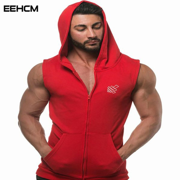 muscle guys Golds gyms Brand stringer tank top zipper hoodies Men Cotton Summer fashion Casual Brand Bodybuilding Tank Tops Y19042204