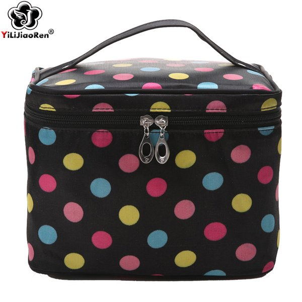 Fashion Dot Cosmetic Case Large Capacity Make Up Bags Famous Brand Nylon Make Up Box Portable Travel Makeup Organizer Bag 2019