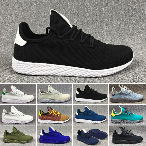 Adidas tennis hu 2018 Pharrell Williams x Stan Smith Tennis Hommes Femmes Chaussures de course HU Primeknit Blanc Vert Bleu Rouge Mesh Sport Sneaker taille 36-45