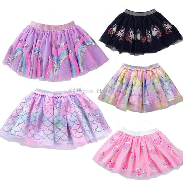 Bambini Tutu gonna Gonna Balletto fantasia Costume colorato Tutu Gonna bambini Ragazze arcobaleno sirena unicorno sequin ricamo maglia vestito C6820