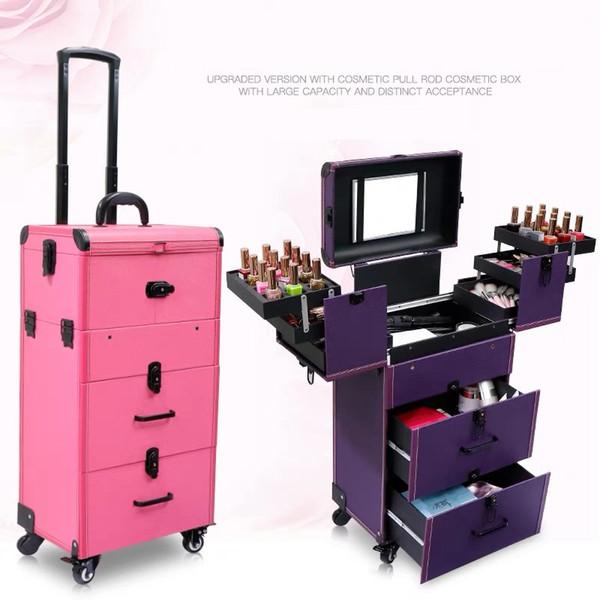 Borsa cosmetica di rotolamento dei bagagli di caso del carrello di grande capienza delle donne, cassetta degli attrezzi di trucco delle unghie, valigia multistrato del carrello del tatuaggio di bellezza