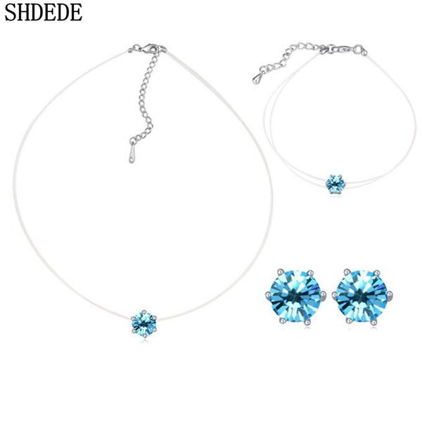 Toptan Basit Stil Moda Takı Setleri Kristal Swarovski Elements Wome Yüksek Kalite Kolye Küpe Bilezik-22000