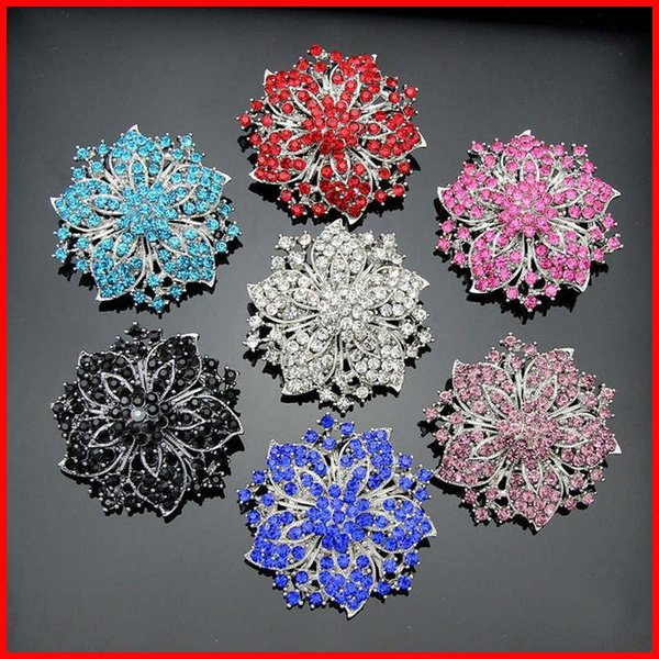Crystal Brooch Silver Gold Flowers Brooches Pins Boutonniere Stick Corsages Scarf Clips for Women Men Jewelry Christmas Gift 170663