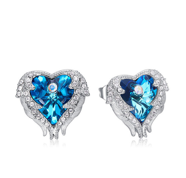 2019 Europe and the United States new fashion crystal angel wings earrings ocean heart-shaped temperament female earrings free shipping