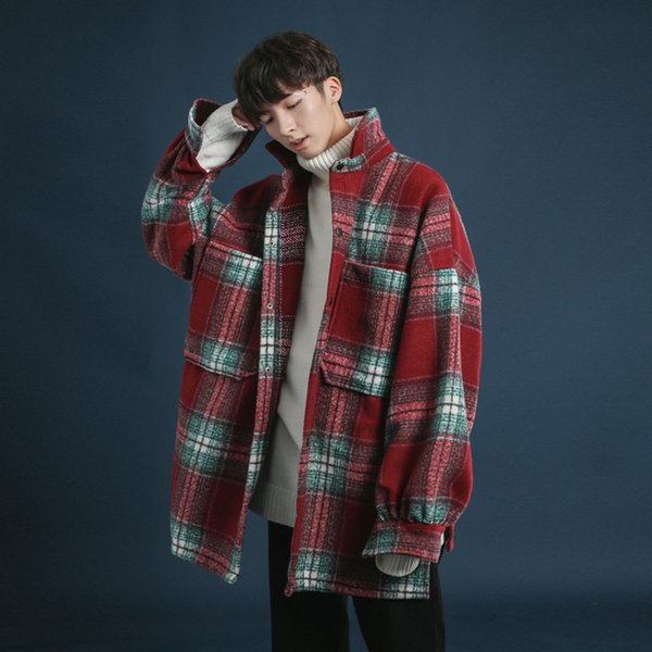 2018 Winter Men's Trend Pocket Worsted Wool Blends Lattice Loose Coat Short Cotton-padded Clothes Snow Jackets Parkas Trench