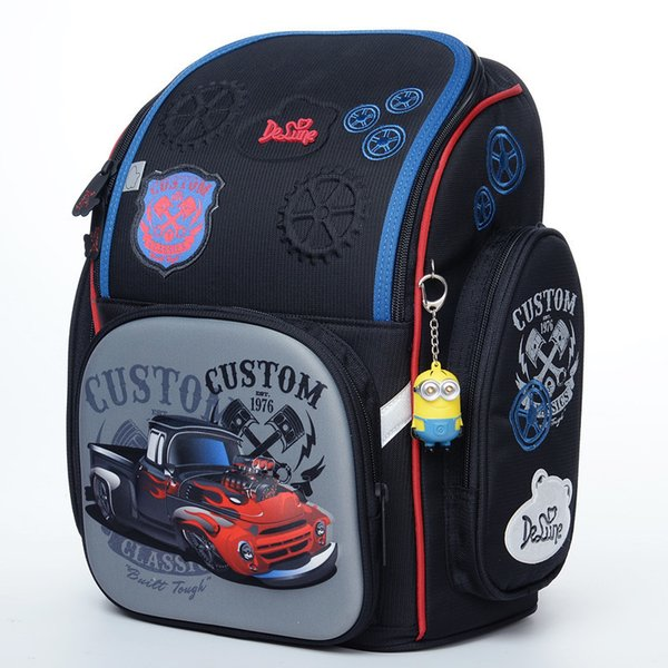 Delune Brand Kids New Orthopedic Backpack 3d Cartoon Schoolbag High Quality Cars Character School Bags Boys School Backpack Bags