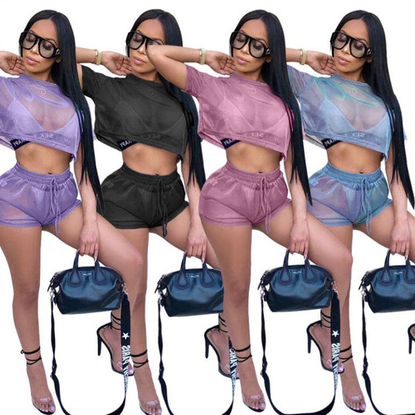 Womens sexy Tracksuit reflect Net yarn Two Pieces colorful Set Fashion Sexy Jogging Sports Suits Women Sportswear Tight sport klw0722