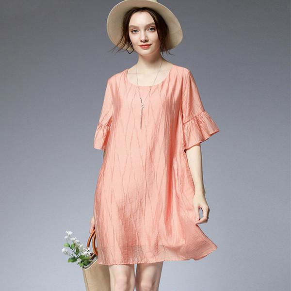 Толстая сестра большой размер женщин 2019 года лето новая мода уменьшение возраста небо шелк большой размер платье с листьями лотоса рукав