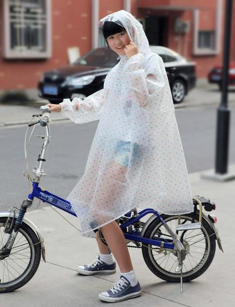 Unisex outdoor popular Polka dot transparent plastic eva adult bicycle raincoat climbing rain poncho free Shipping
