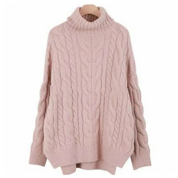 white sweater woman turtleneck pullover long sleeve plus loose solid color stitching knit pattern sweater female temperament commuter winter