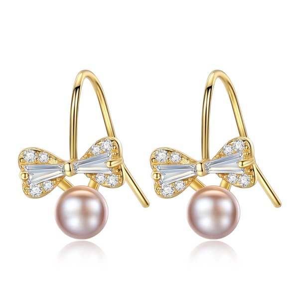Valentine's Day Gift Romantic Bowknot Earrings 925 Sterling Silver With 4A Grade Natural Purple Pearl Wholesale manufacturers Drop Shipping